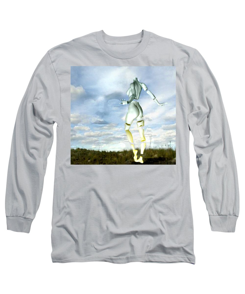 Sky Naked Woman Surreal Dance Long Sleeve T-Shirt featuring the digital art Out Of My Mind... by Veronica Jackson