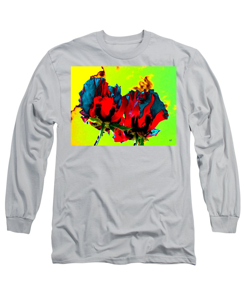 Poppies Long Sleeve T-Shirt featuring the digital art Painted Poppies by Will Borden