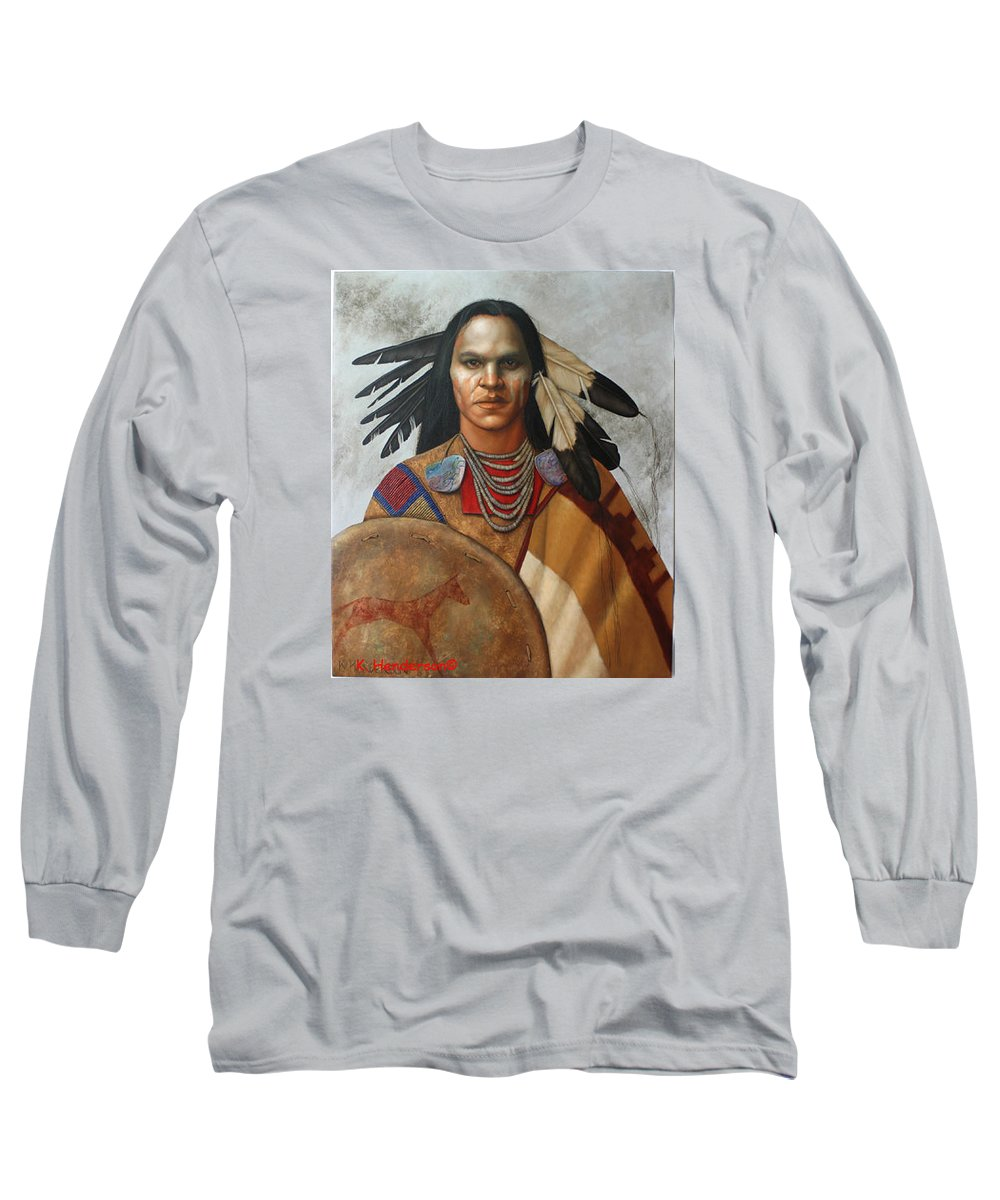 American Indian Long Sleeve T-Shirt featuring the painting Pale Rider By K Henderson by K Henderson