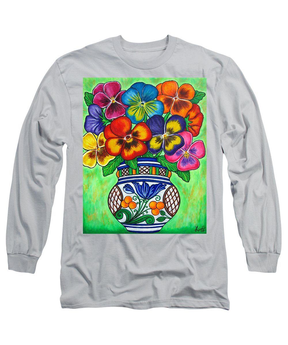 Flower Long Sleeve T-Shirt featuring the painting Pansy Parade by Lisa Lorenz