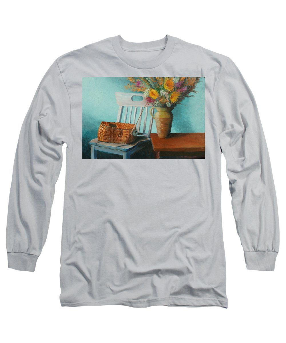 Floral Long Sleeve T-Shirt featuring the painting Papa's Pole by Jerry McElroy