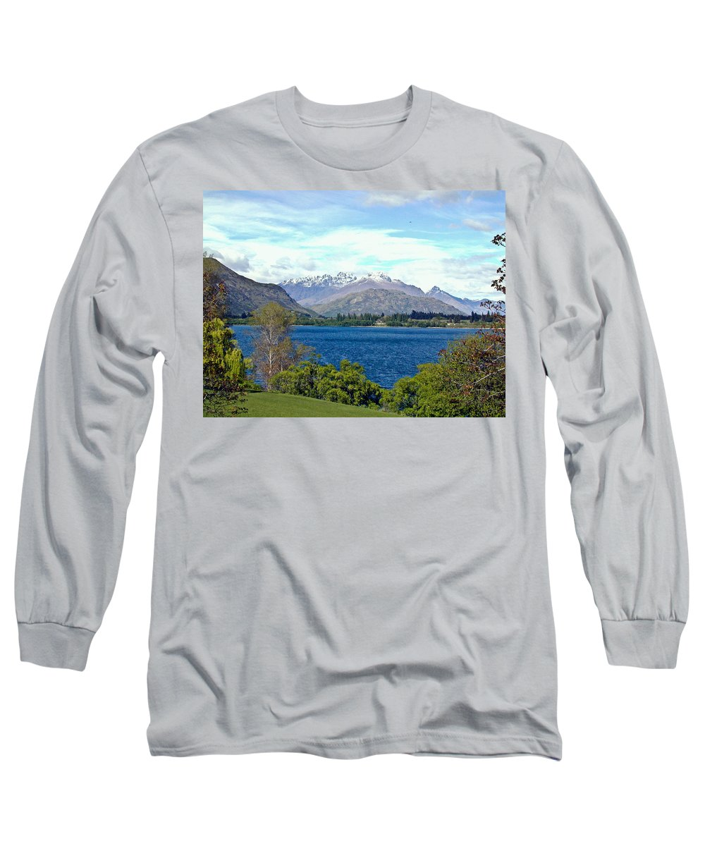 Lake Long Sleeve T-Shirt featuring the photograph Peaceful Lake -- New Zealand by Douglas Barnett