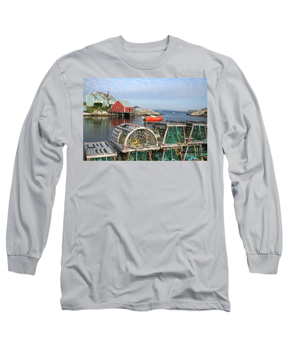 Peggy\\ Long Sleeve T-Shirt featuring the photograph Peggys Cove And Lobster Traps by Thomas Marchessault