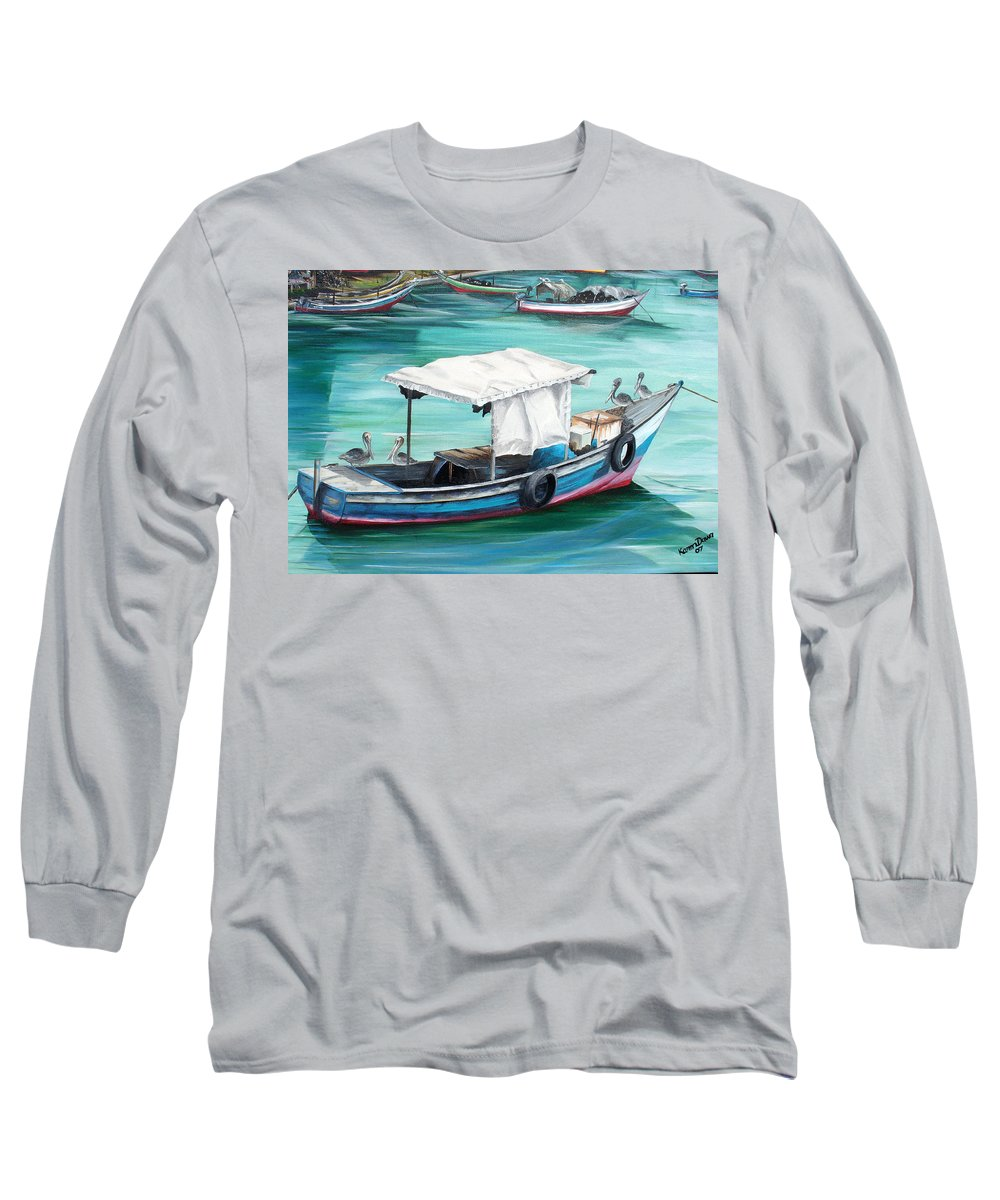 Fishing Boat Painting Seascape Ocean Painting Pelican Painting Boat Painting Caribbean Painting Pirogue Oil Fishing Boat Trinidad And Tobago Long Sleeve T-Shirt featuring the painting Pirogue Fishing Boat by Karin Dawn Kelshall- Best