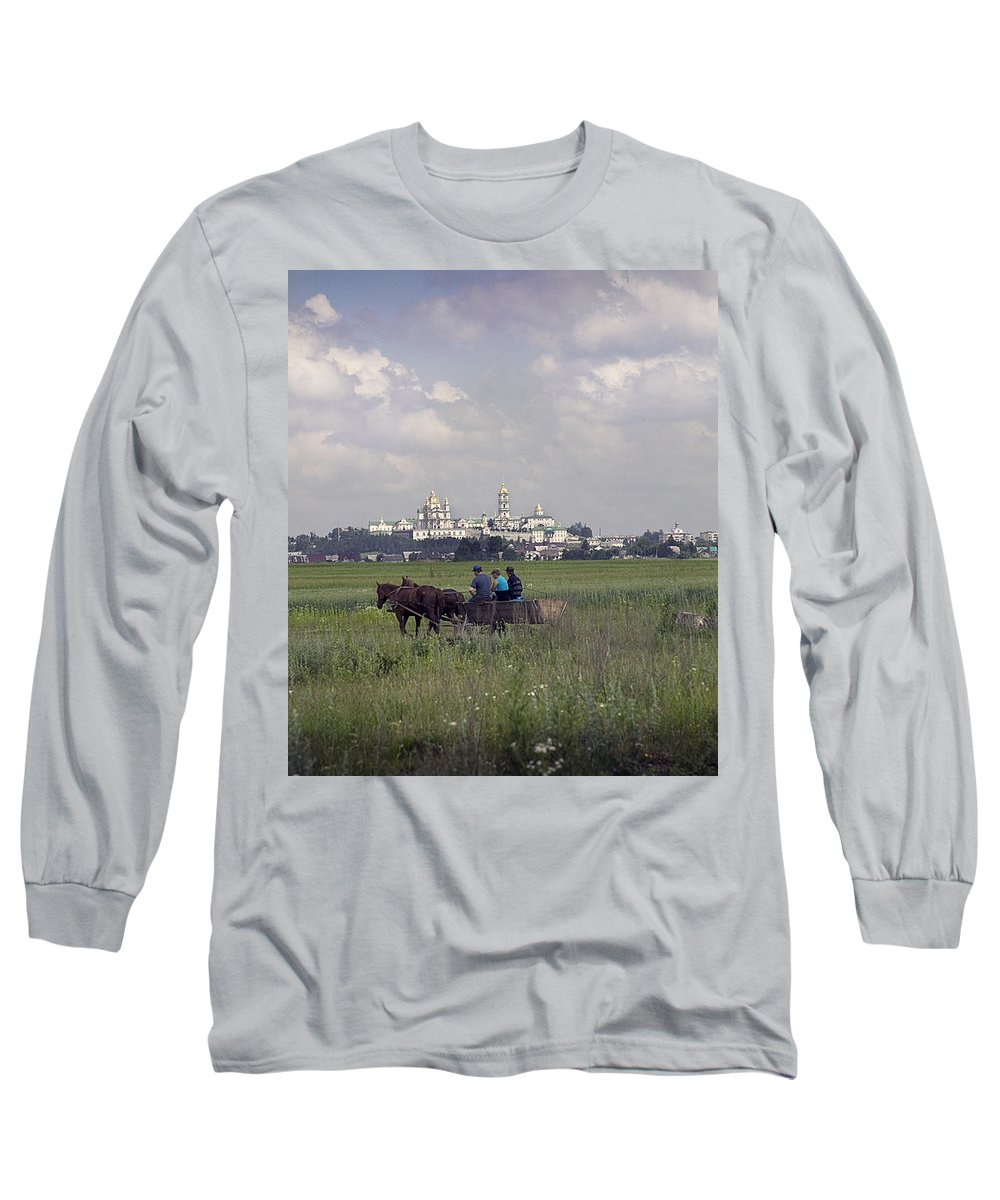 Ukraine Long Sleeve T-Shirt featuring the photograph Pochaiv Monastery Ukraine by Yuri Lev