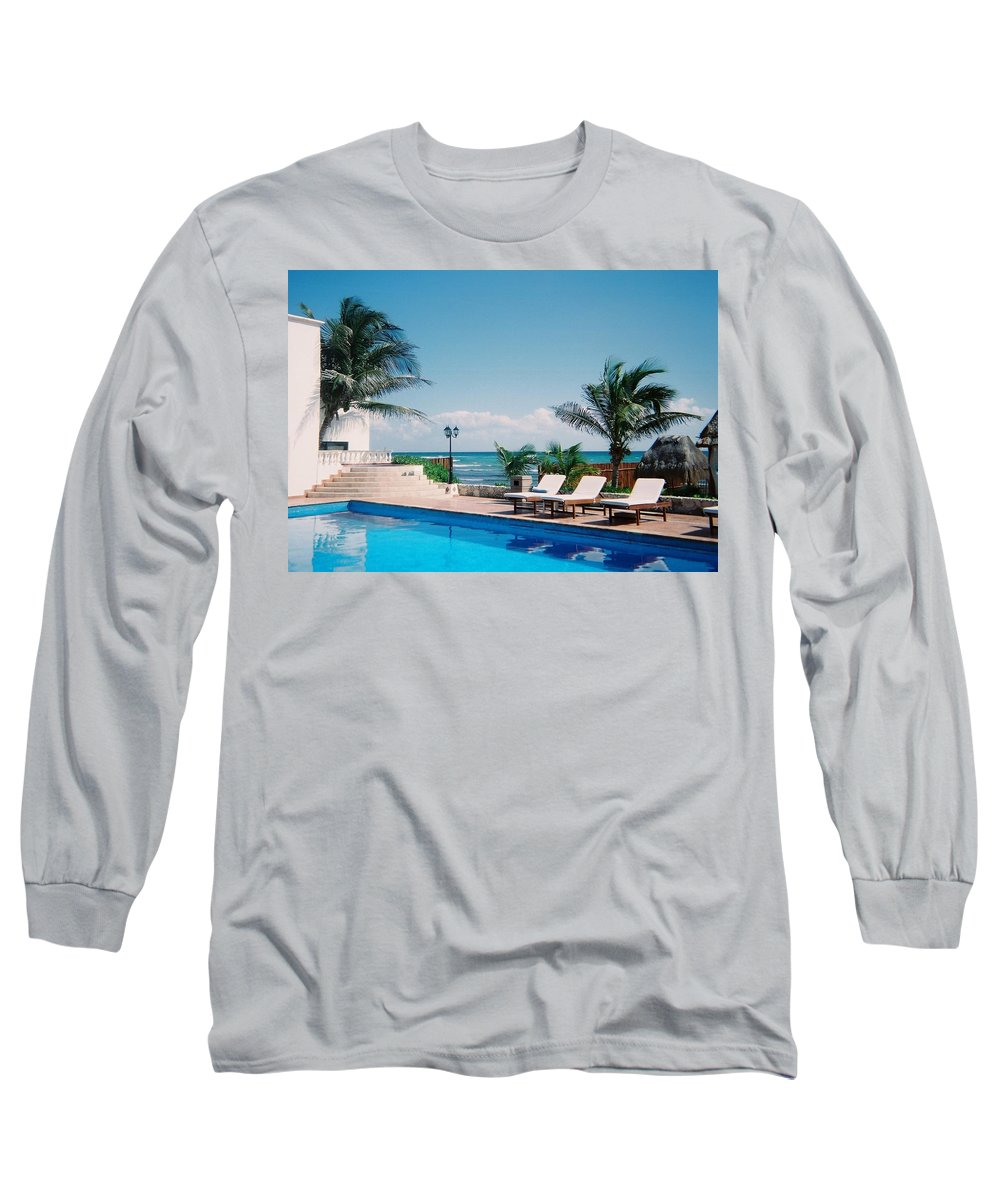 Resort Long Sleeve T-Shirt featuring the photograph Poolside by Anita Burgermeister
