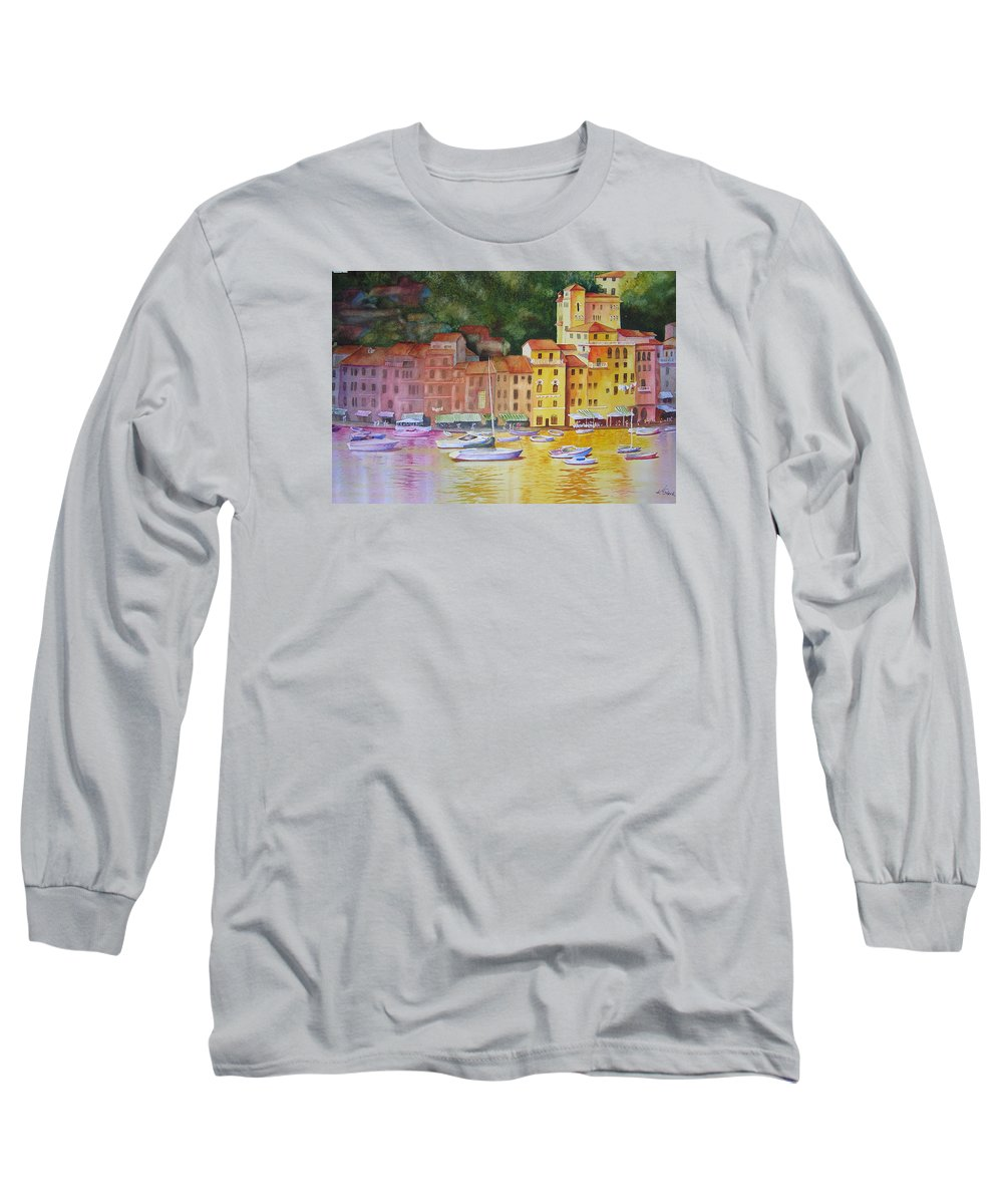 Italy Long Sleeve T-Shirt featuring the painting Portofino Afternoon by Karen Stark