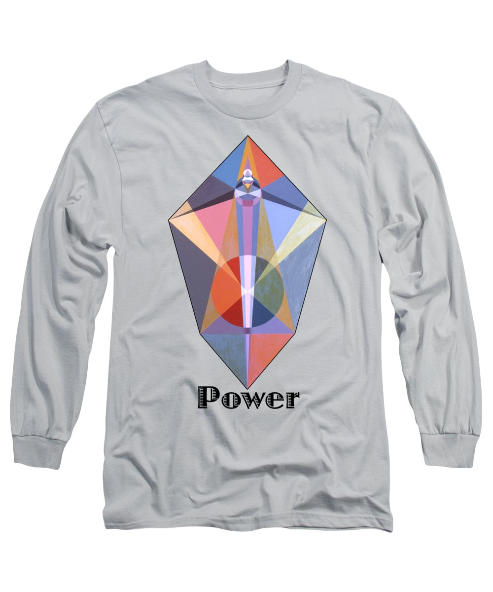 Painting Long Sleeve T-Shirt featuring the painting Power text by Michael Bellon
