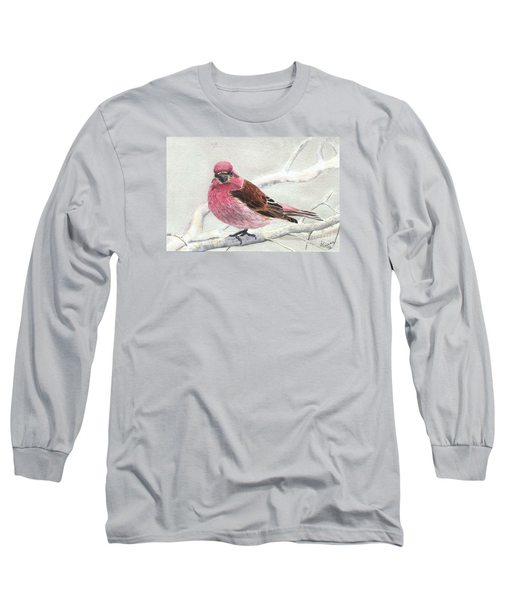 Bird Long Sleeve T-Shirt featuring the painting Purple Finch by Lynn Quinn