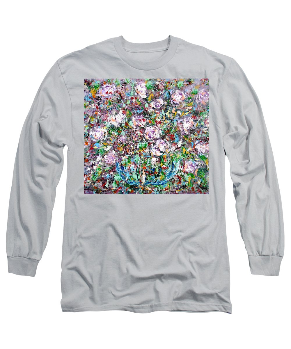 Abstract Long Sleeve T-Shirt featuring the painting Purple Passions by Natalie Holland