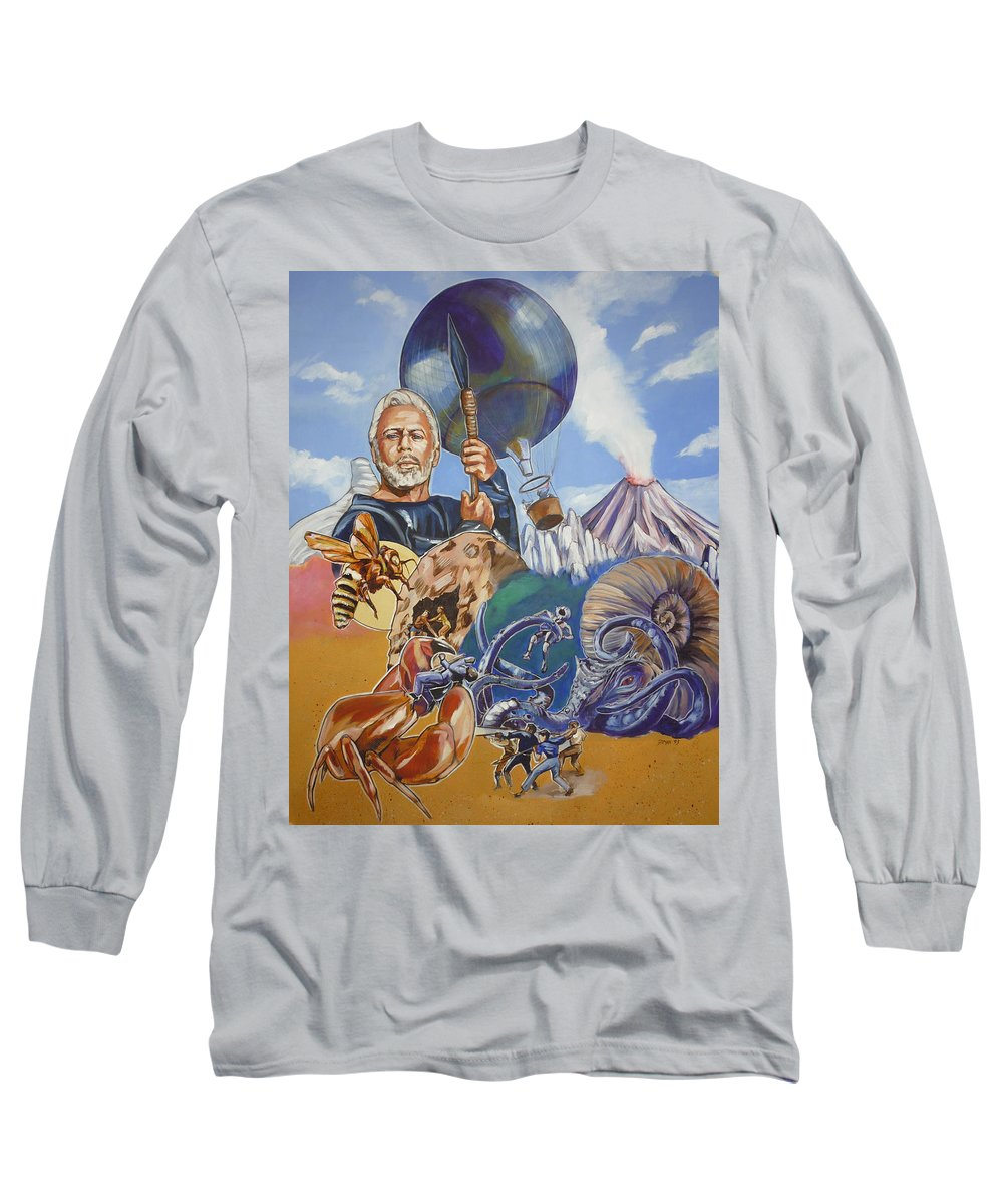 Mysterious Island Long Sleeve T-Shirt featuring the painting Ray Harryhausen Tribute The Mysterious Island by Bryan Bustard