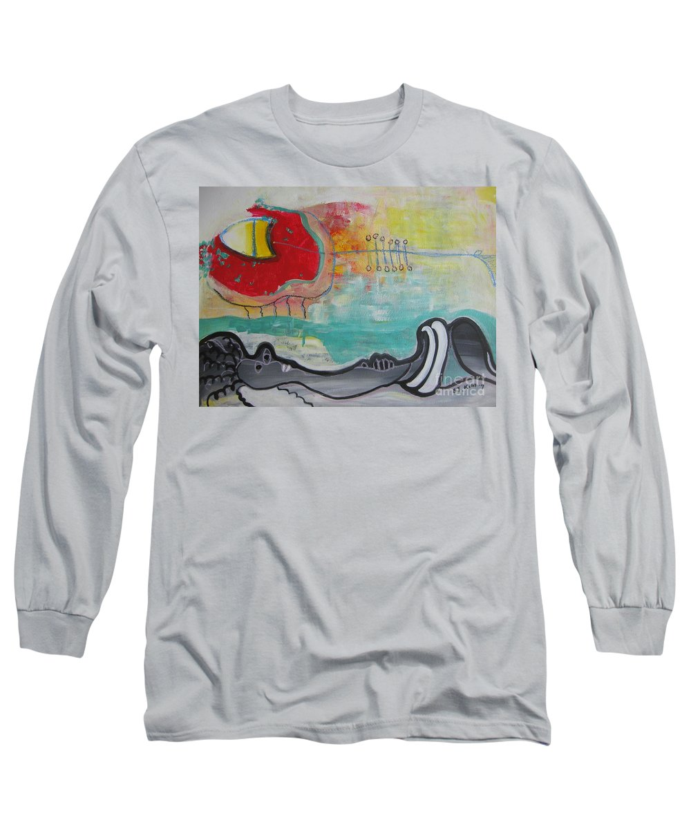 Red Paintings Long Sleeve T-Shirt featuring the painting Read My Mind1 by Seon-Jeong Kim