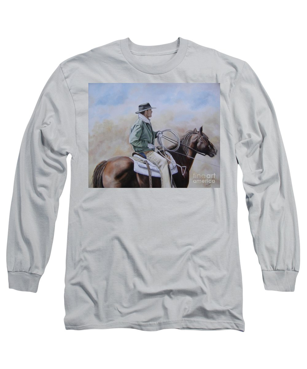 Ranch Long Sleeve T-Shirt featuring the painting Ready To Rope by Mary Rogers