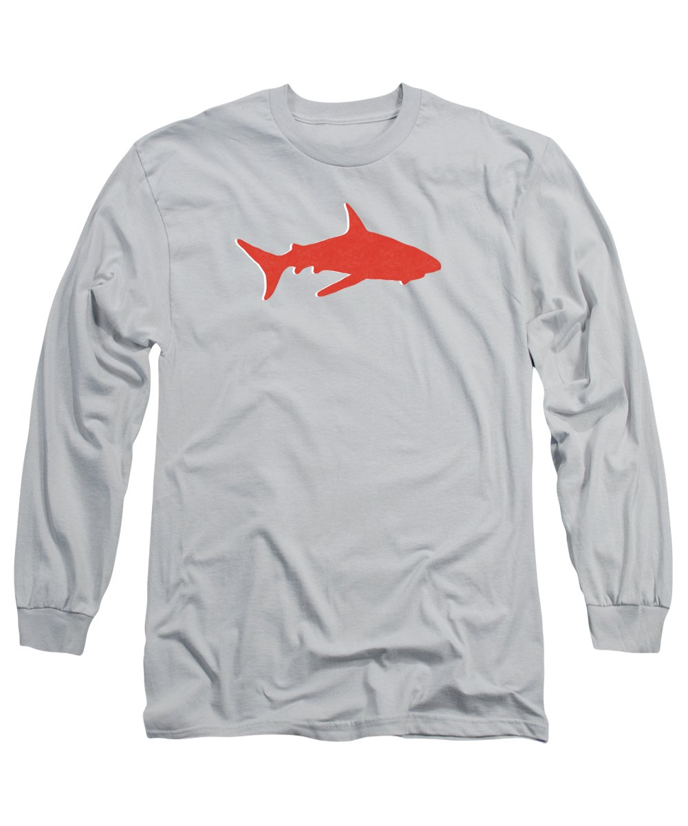 Shark Long Sleeve T-Shirt featuring the mixed media Red Shark by Linda Woods