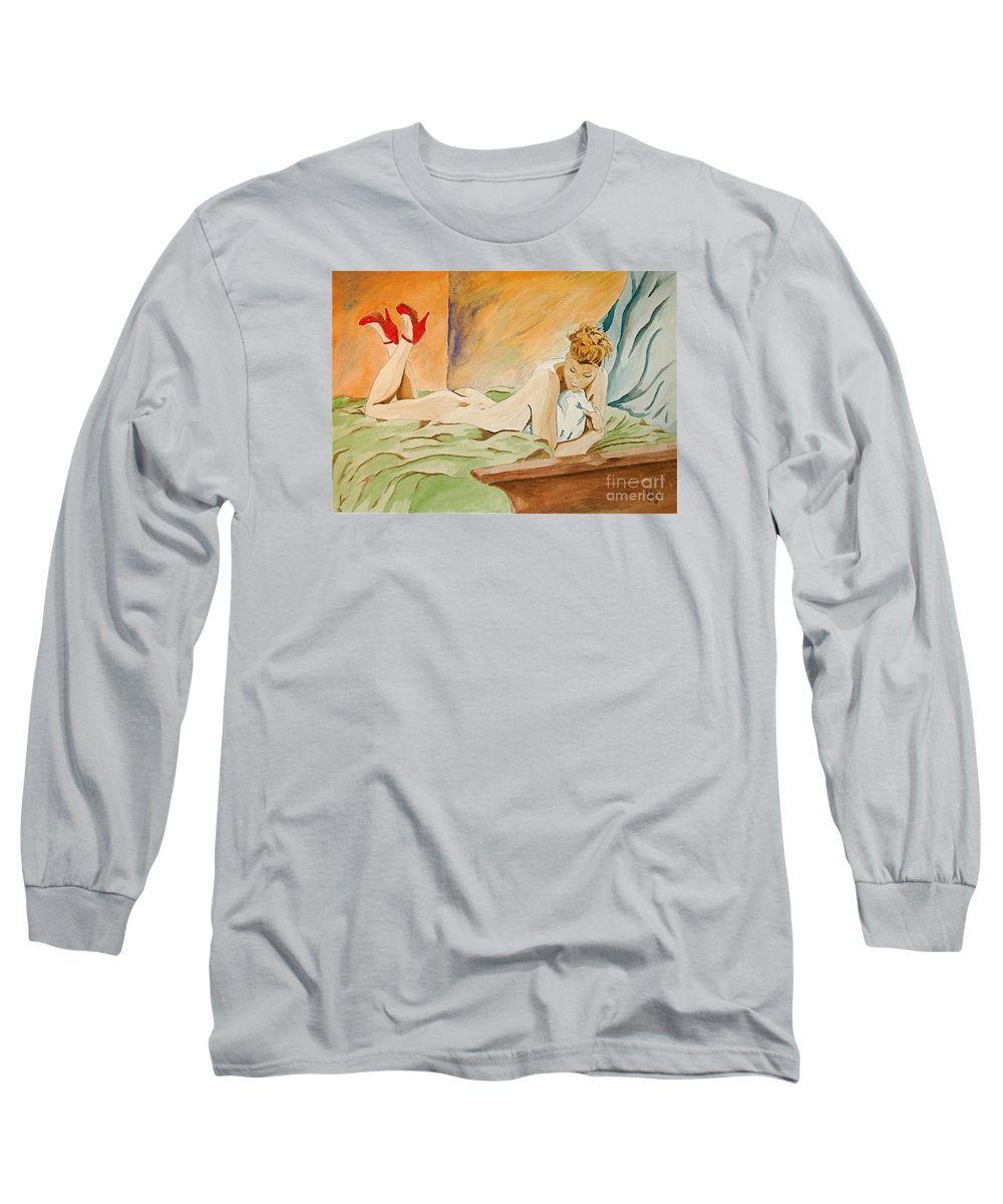 Nude Long Sleeve T-Shirt featuring the painting Red Shoes by Herschel Fall