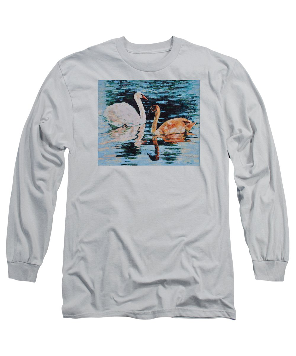 Blue Long Sleeve T-Shirt featuring the painting Reflections by Iliyan Bozhanov