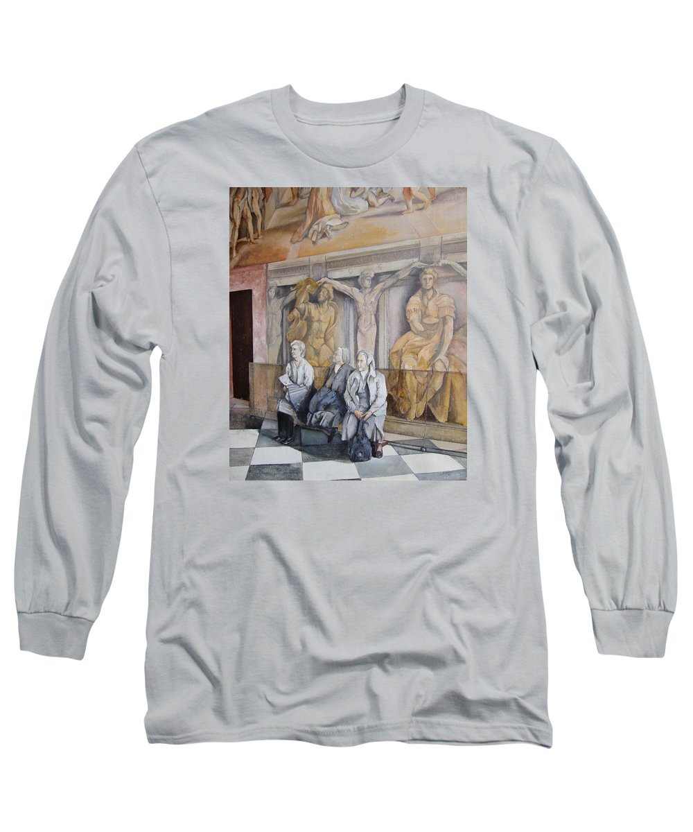 Vaticano Long Sleeve T-Shirt featuring the painting Reposo En El Vaticano by Tomas Castano