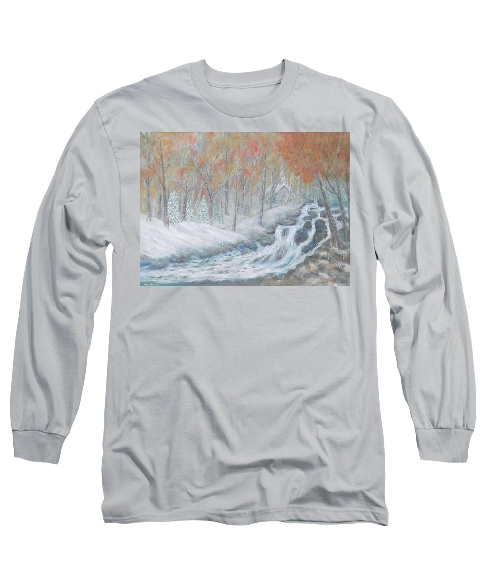 Snow; Landscape; Church Long Sleeve T-Shirt featuring the painting Reverence by Ben Kiger