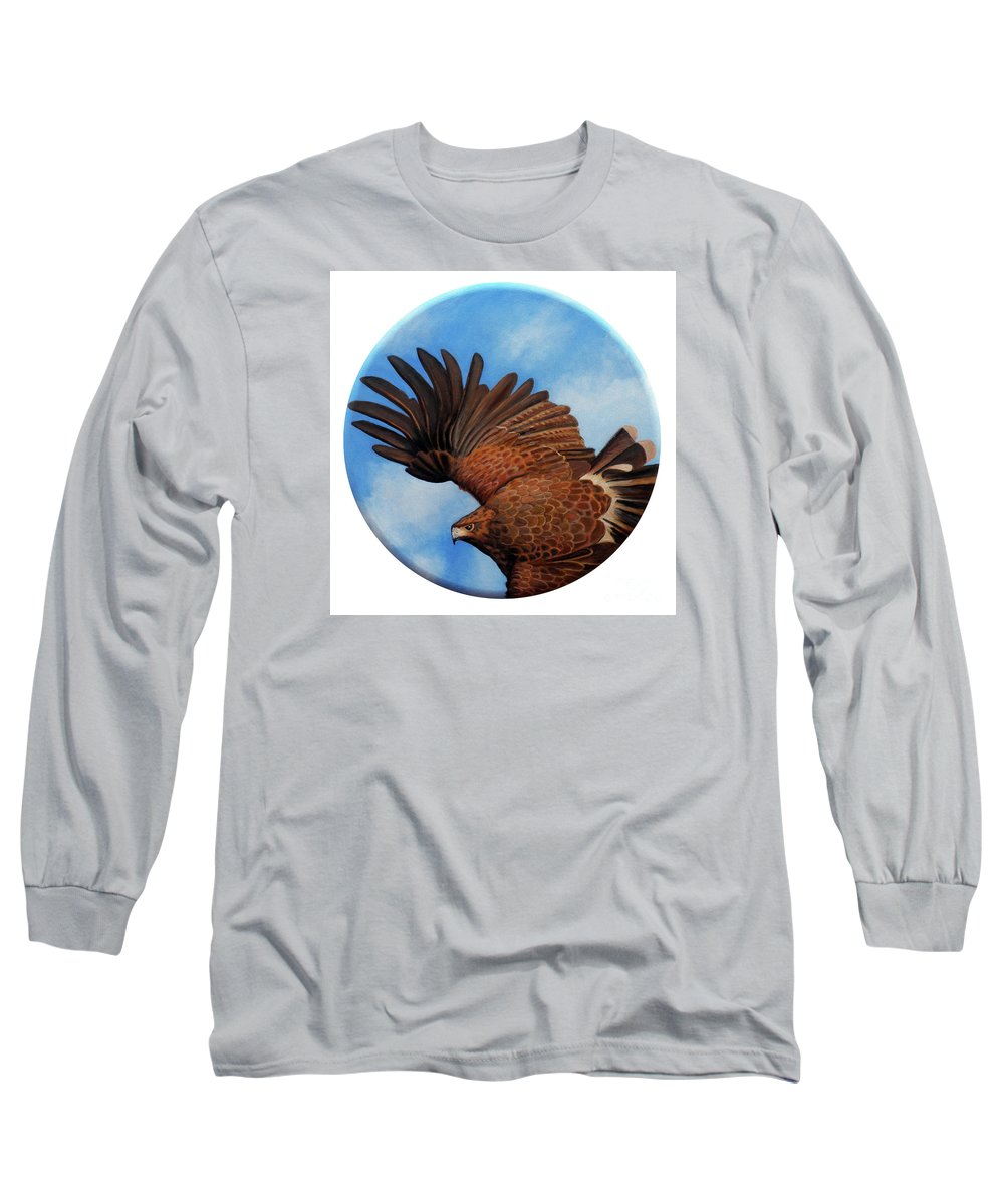 Hawk Long Sleeve T-Shirt featuring the painting Riding The Wind by Brian Commerford