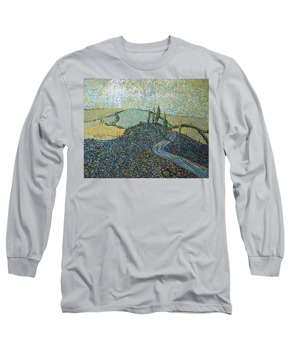 Landscape Long Sleeve T-Shirt featuring the painting Road To Tuscany by Stefan Duncan