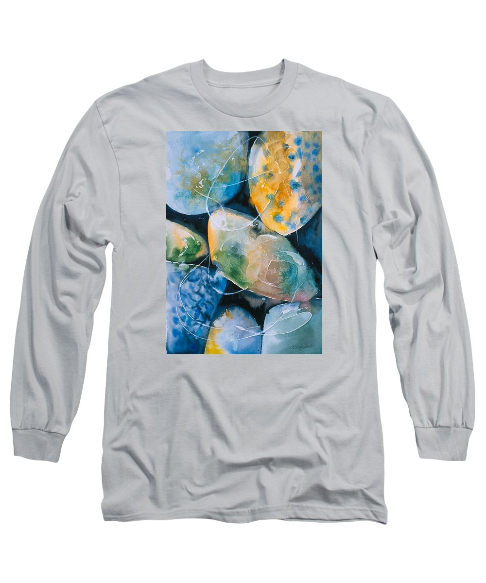 Water Long Sleeve T-Shirt featuring the painting Rock In Water by Allison Ashton