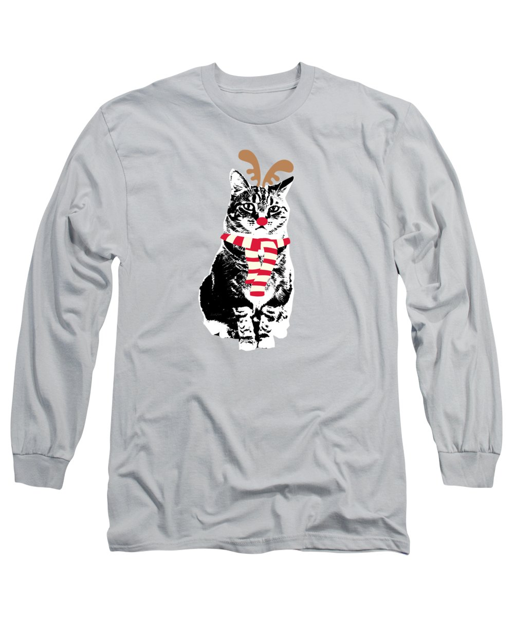 Reindeer Cat Long Sleeve T-Shirt featuring the mixed media Rudolph The Red Nosed Cat- Art by Linda Woods by Linda Woods