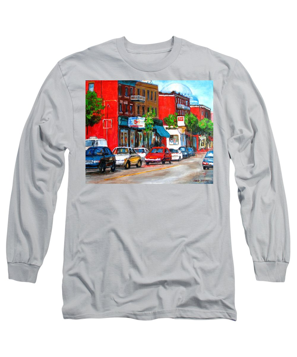 St.viateur Bagel Long Sleeve T-Shirt featuring the painting Saint Viateur Street by Carole Spandau