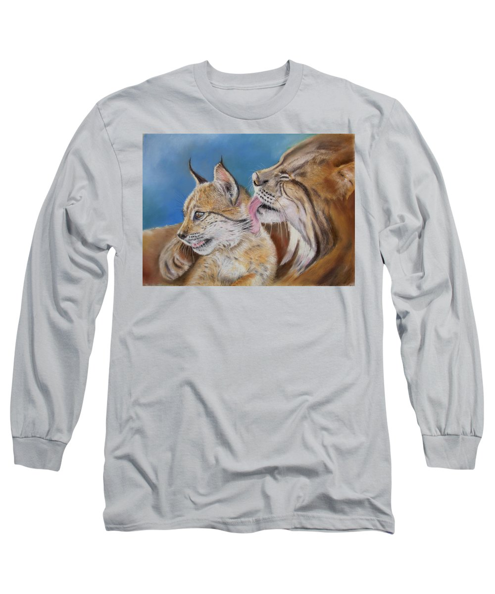 Iberian Lynx Long Sleeve T-Shirt featuring the painting Saliega Y Brezo by Ceci Watson