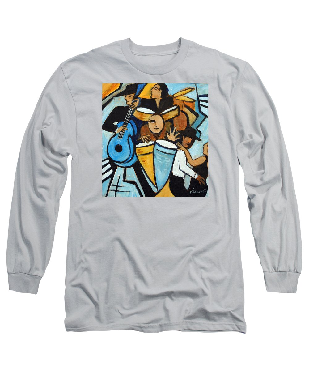 Cubist Salsa Dancers Long Sleeve T-Shirt featuring the painting Salsa Night by Valerie Vescovi