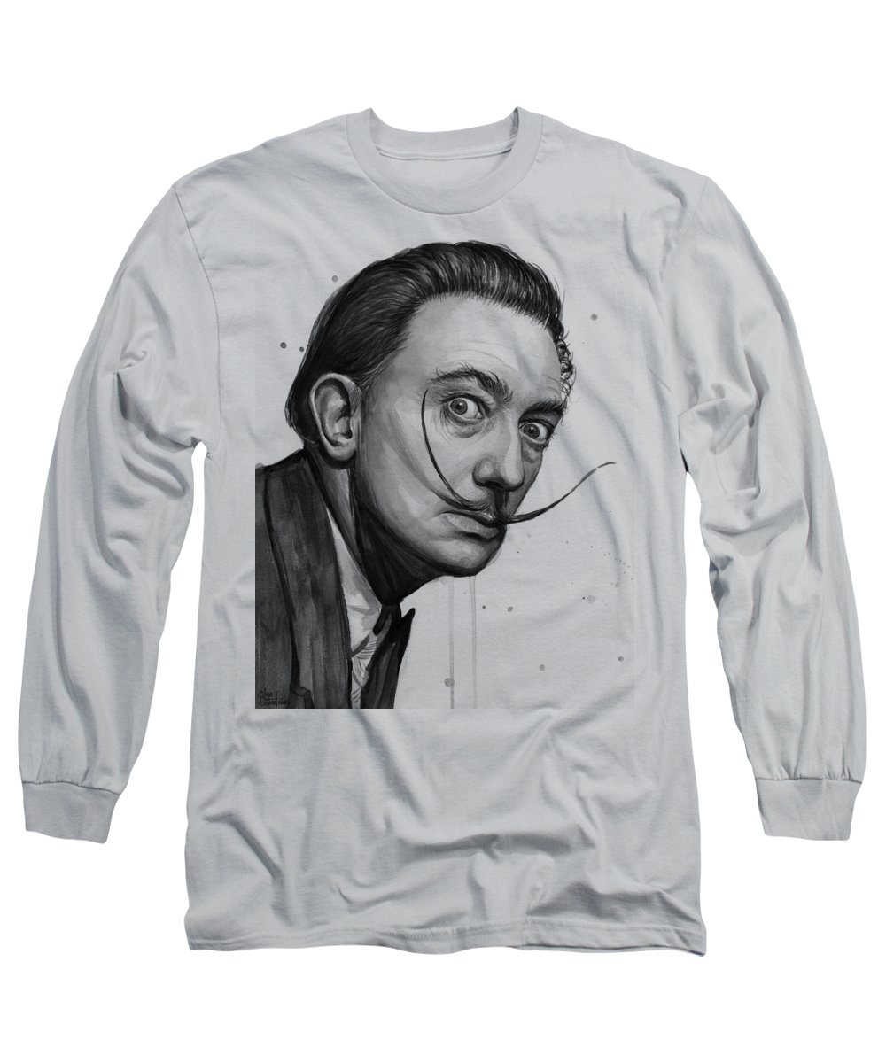 Salvador Dali Long Sleeve T-Shirt featuring the painting Salvador Dali Portrait Black And White Watercolor by Olga Shvartsur