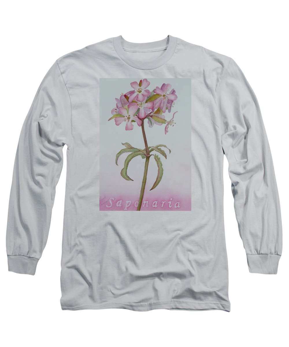 Flower Long Sleeve T-Shirt featuring the painting Saponaria by Ruth Kamenev