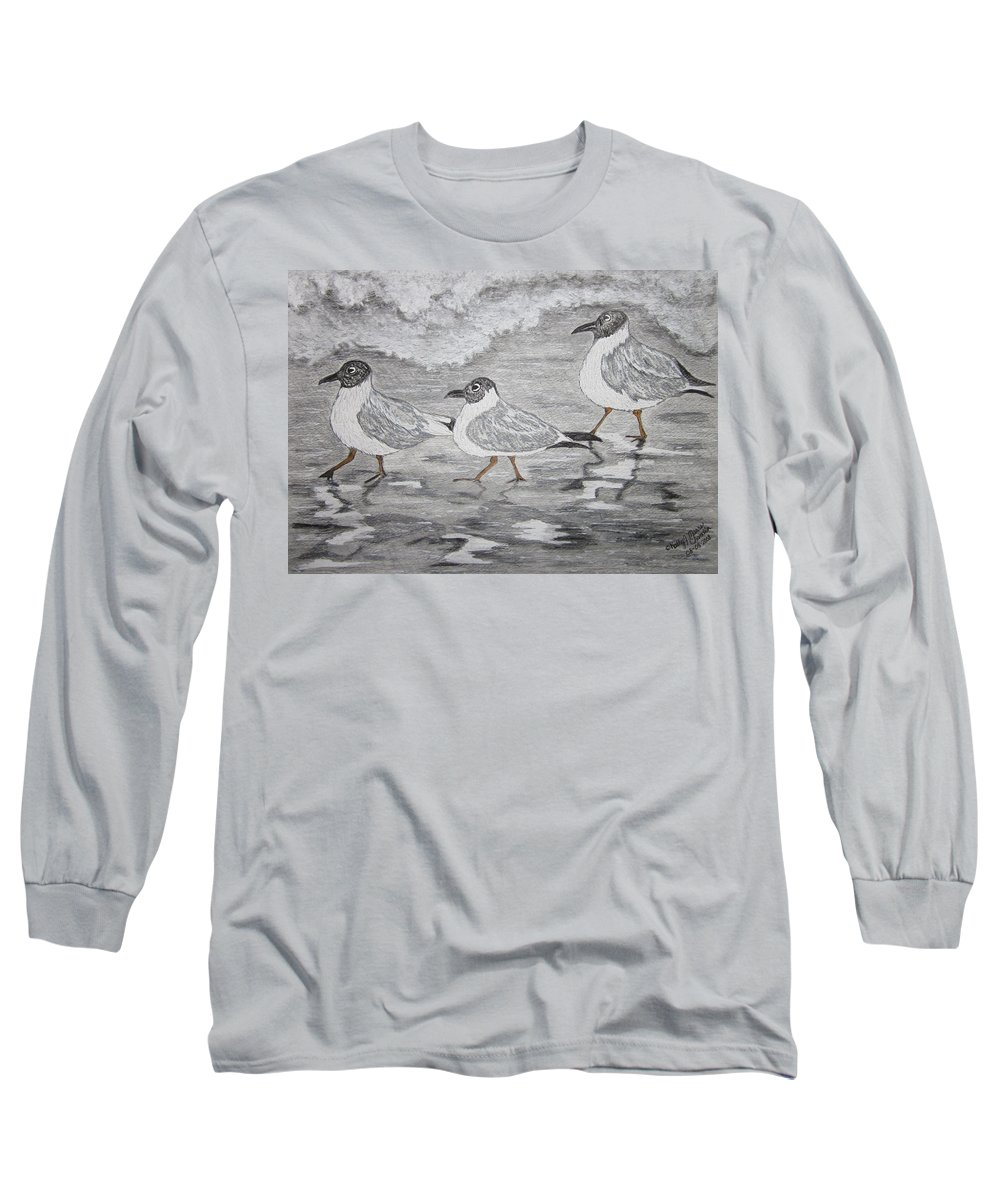 Sea Gulls Long Sleeve T-Shirt featuring the painting Sea Gulls Dodging The Ocean Waves by Kathy Marrs Chandler