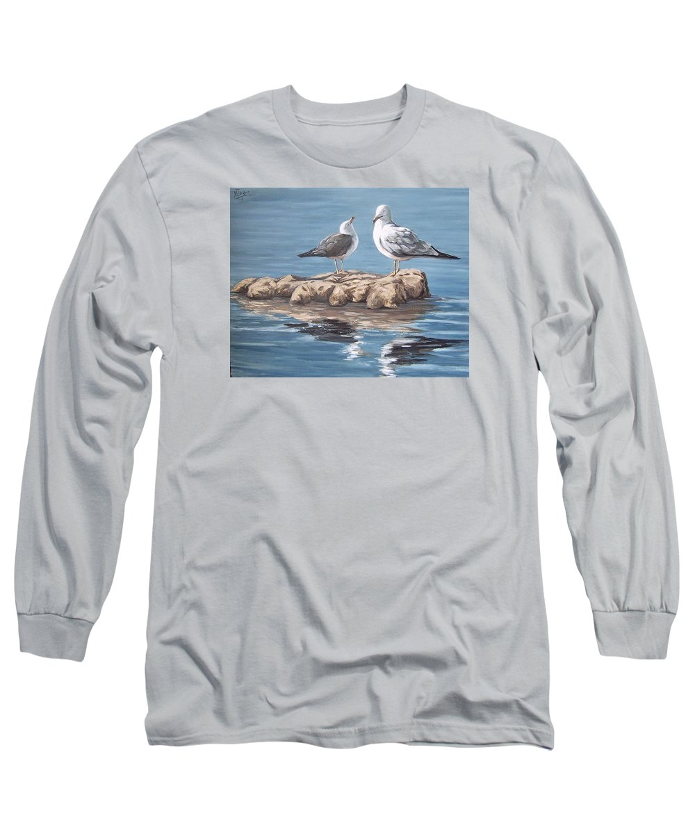 Seagulls Sea Seascape Water Bird Long Sleeve T-Shirt featuring the painting Seagulls In The Sea by Natalia Tejera