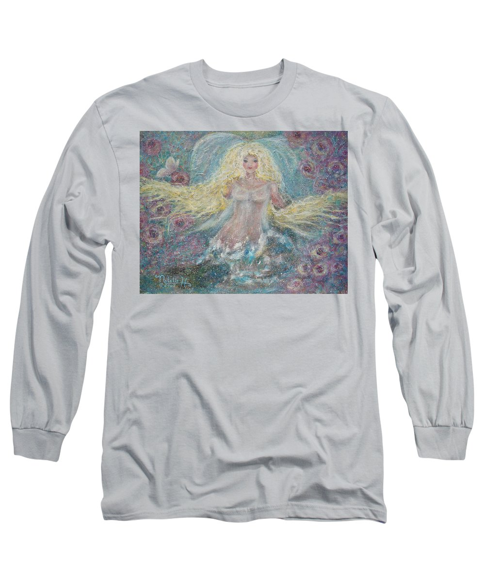Angel Long Sleeve T-Shirt featuring the painting Secret Garden Angel 3 by Natalie Holland