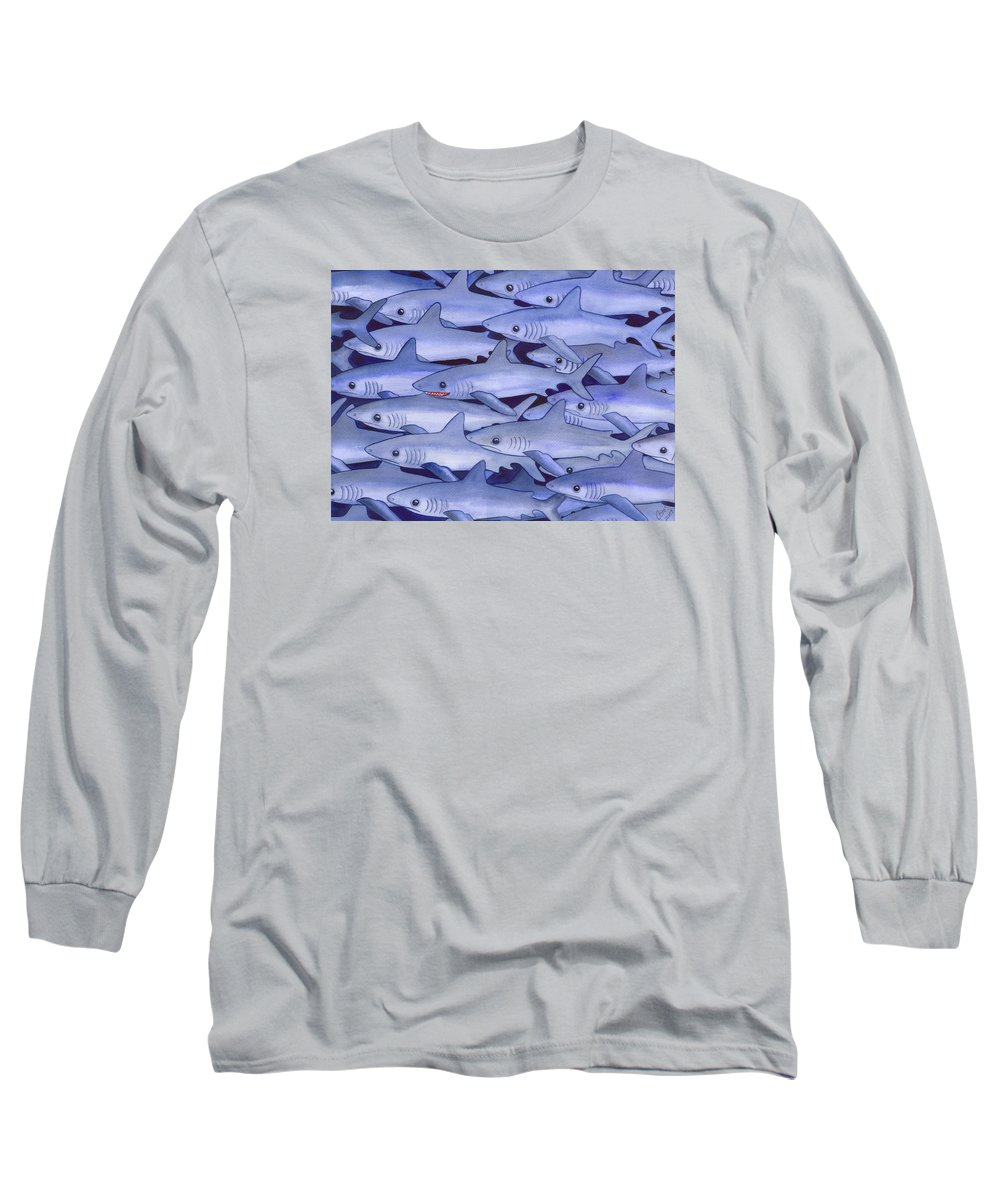 Shark Long Sleeve T-Shirt featuring the painting Sharks by Catherine G McElroy
