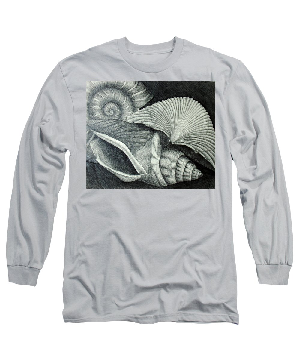 Shells Long Sleeve T-Shirt featuring the drawing Shells by Nancy Mueller
