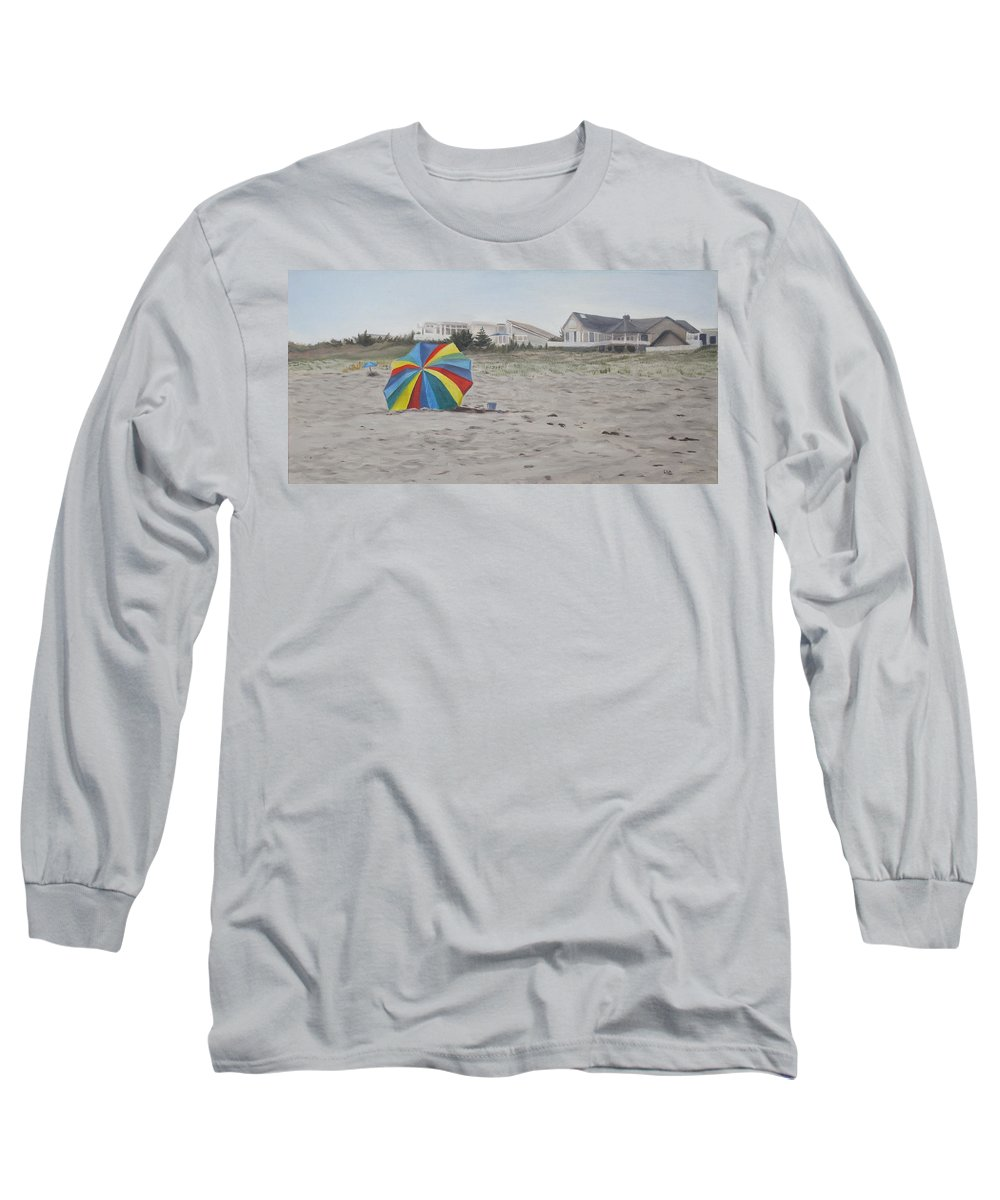 Beach Umbrella Long Sleeve T-Shirt featuring the painting Shore Dreams by Lea Novak
