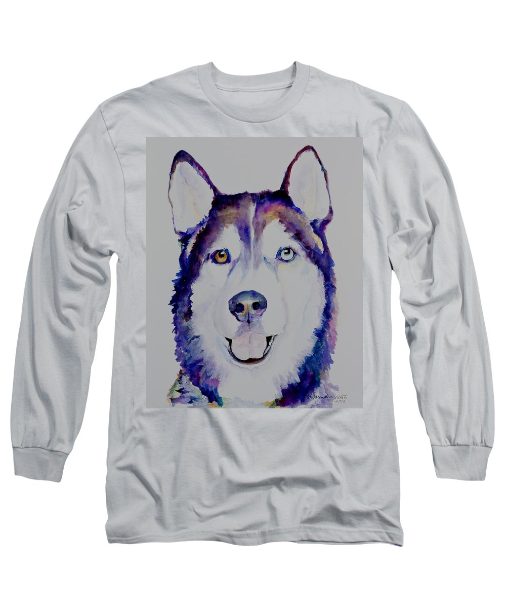Siberian Husky Long Sleeve T-Shirt featuring the painting Simba by Pat Saunders-White