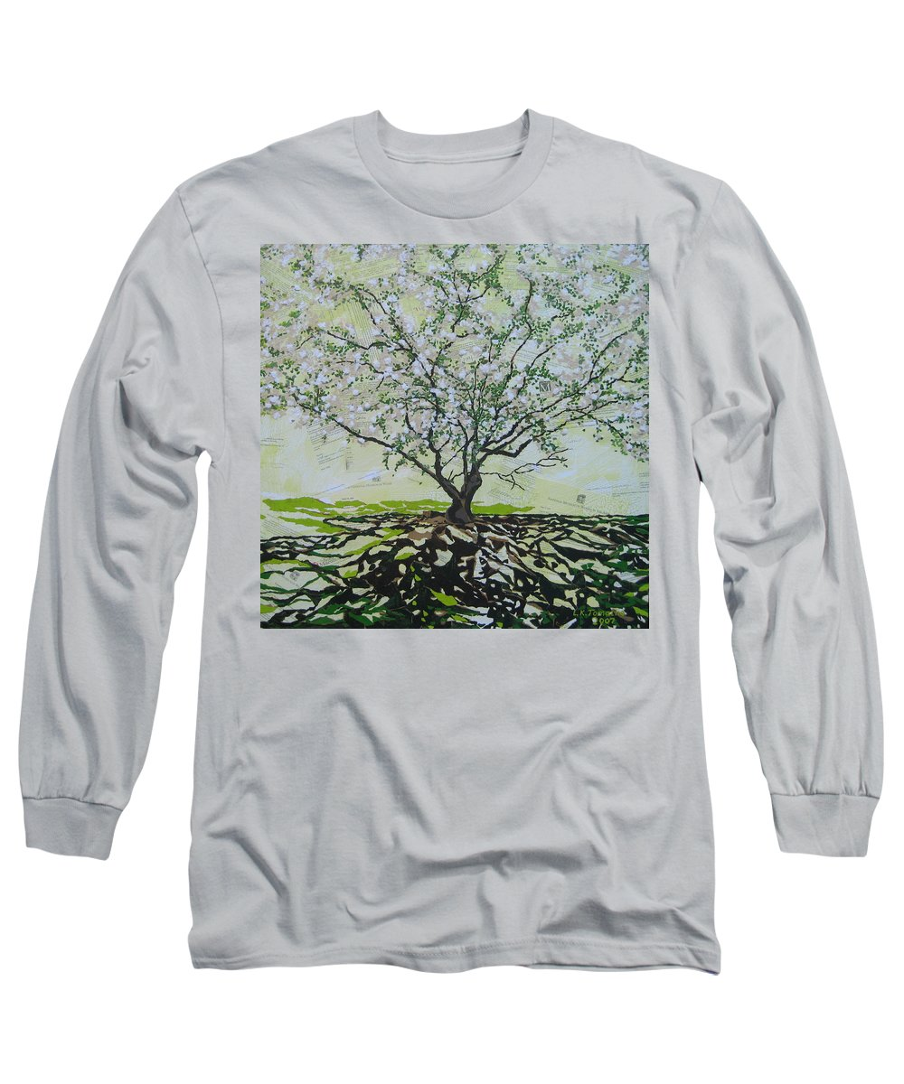 Apple Tree Long Sleeve T-Shirt featuring the painting Sincerely-the Curator by Leah Tomaino