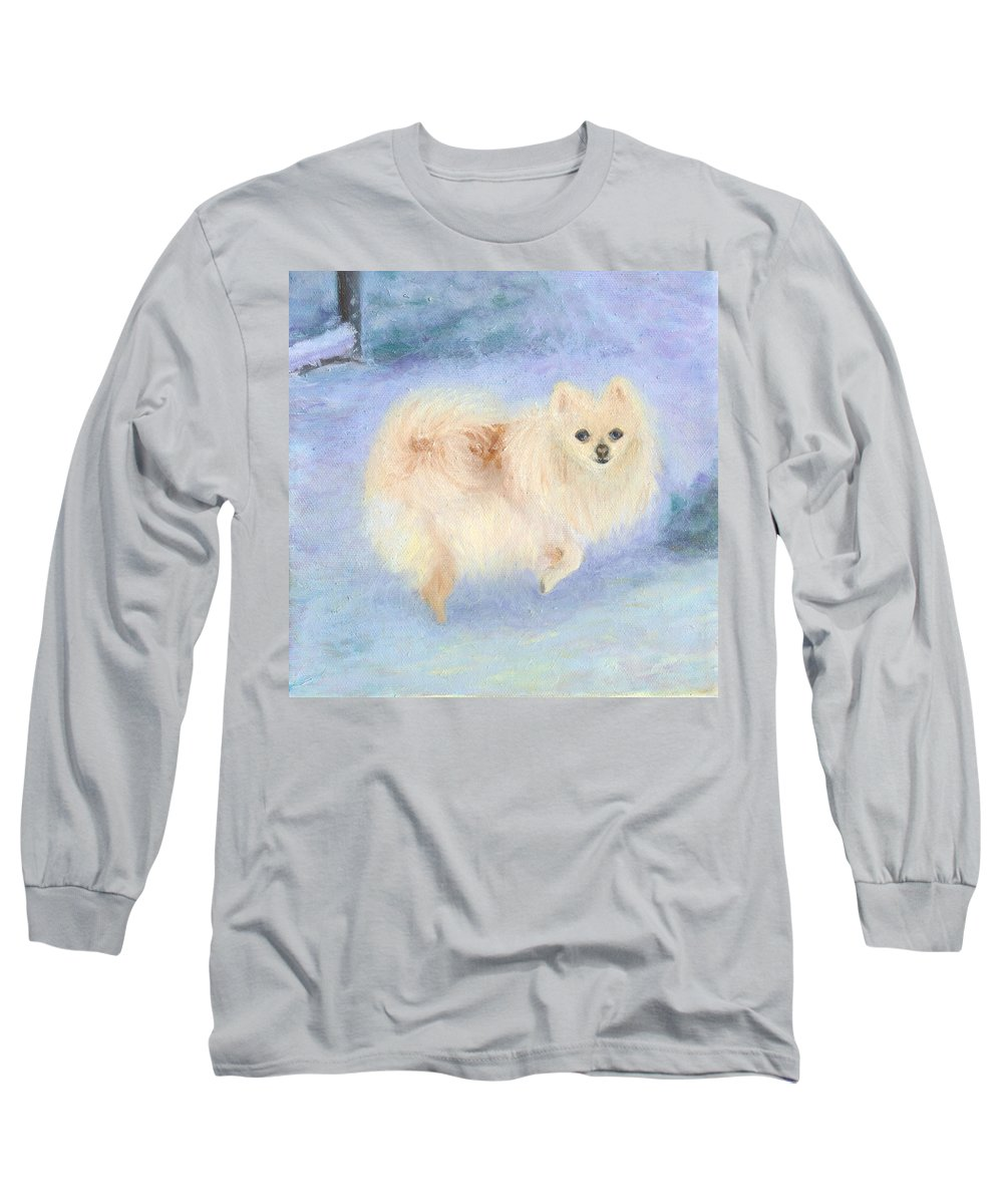 Dog Long Sleeve T-Shirt featuring the painting Snow Angel by Paula Emery