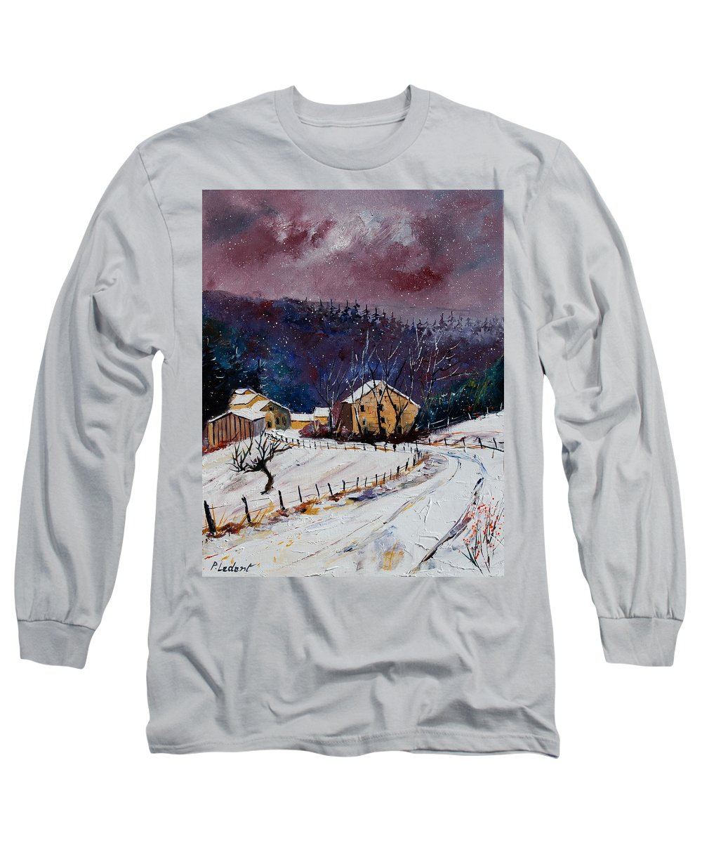 Landscape Long Sleeve T-Shirt featuring the painting Snow In Sechery by Pol Ledent
