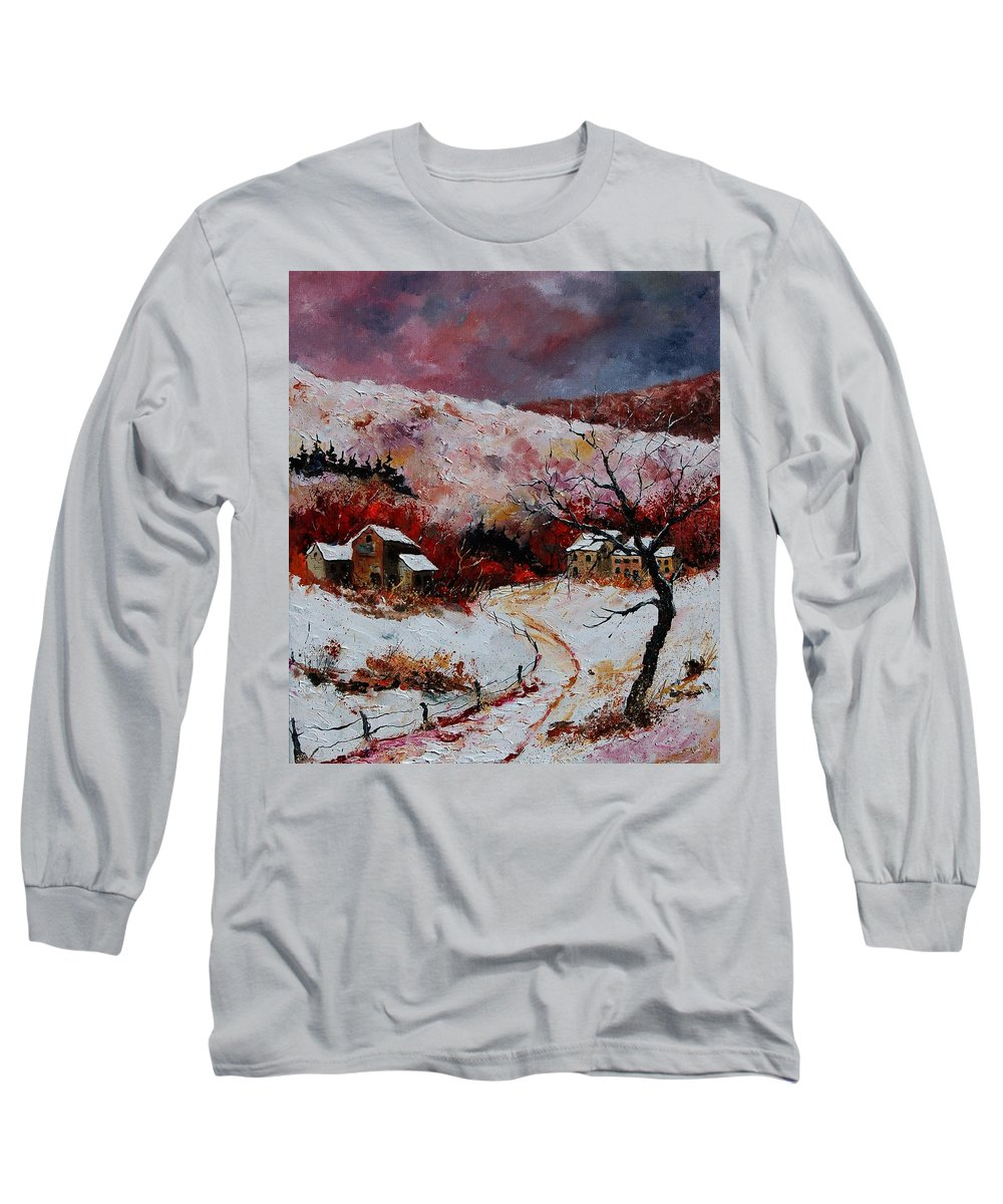 Snow Long Sleeve T-Shirt featuring the painting Snow In The Ardennes 78 by Pol Ledent