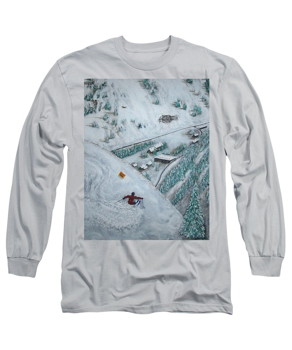 Ski Long Sleeve T-Shirt featuring the painting Snowbird Steeps by Michael Cuozzo