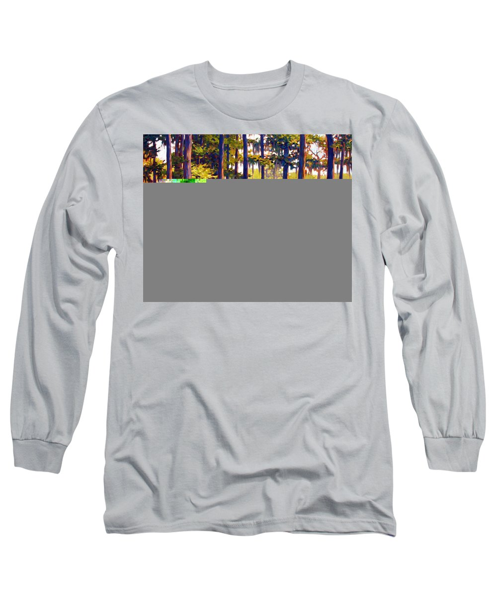 Marshes; Egrets; Low Country; Palmetto Trees Long Sleeve T-Shirt featuring the painting Southern Breeze by Ben Kiger