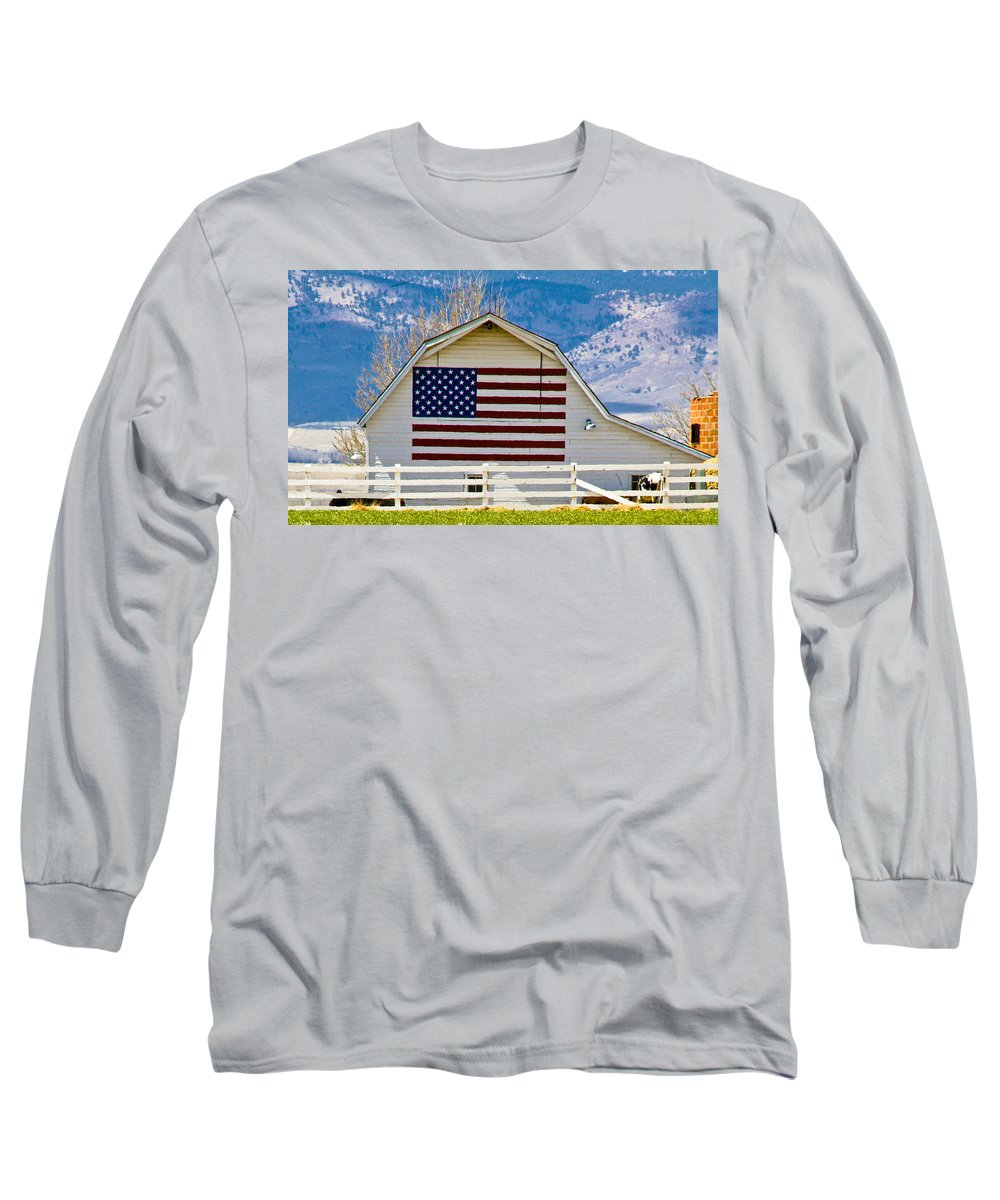 Barn Long Sleeve T-Shirt featuring the photograph Stars Stripes And Barns by Marilyn Hunt