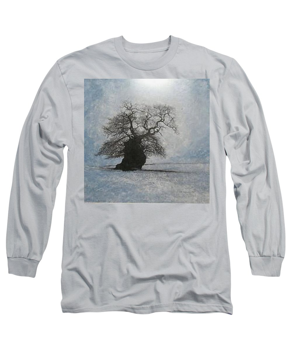 Silhouette Long Sleeve T-Shirt featuring the painting Stilton Silhouette by Leah Tomaino