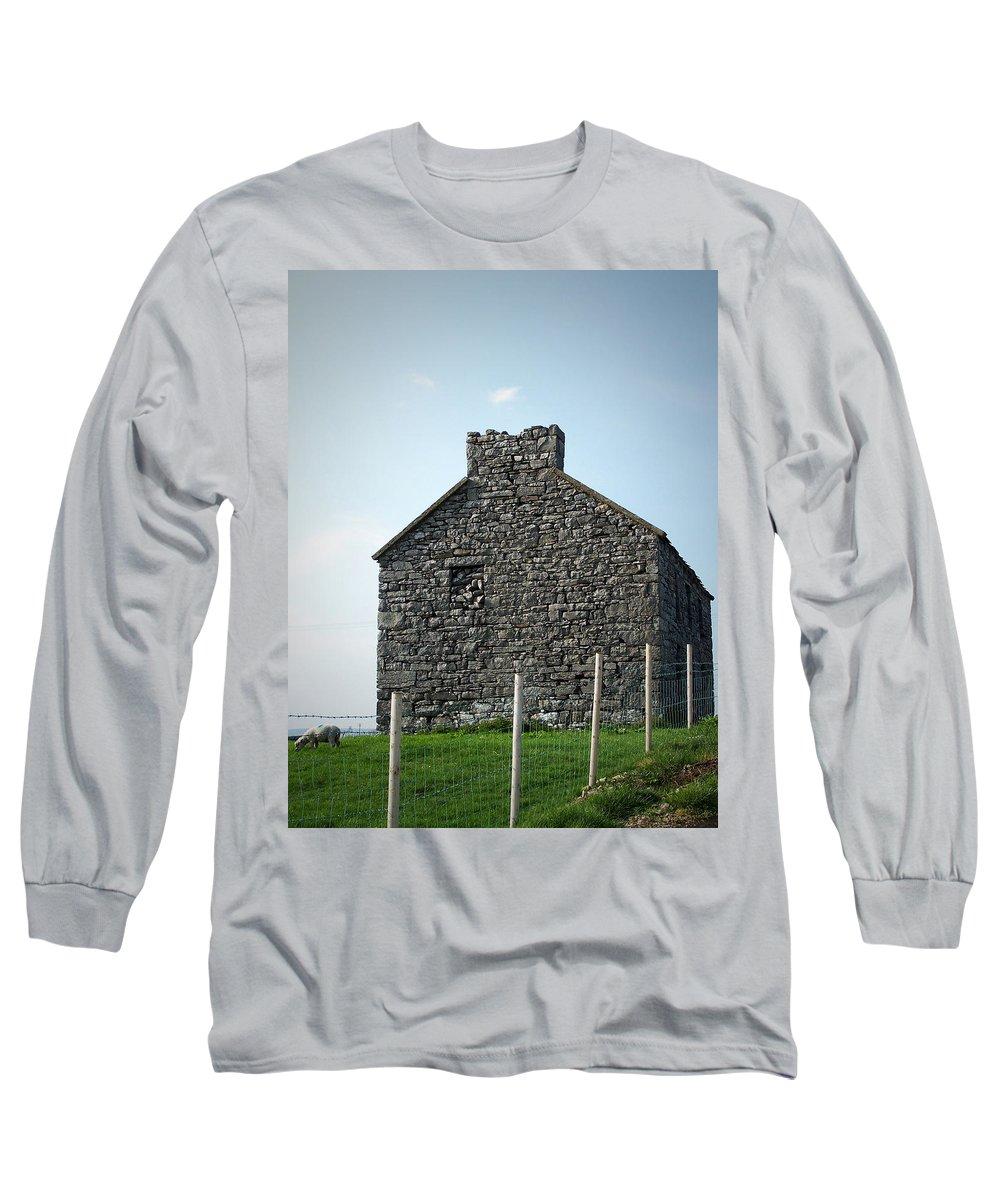 Irish Long Sleeve T-Shirt featuring the photograph Stone Building Maam Ireland by Teresa Mucha