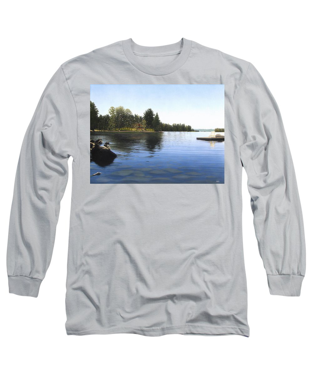 Landscapes Long Sleeve T-Shirt featuring the painting Stoney Lake by Kenneth M Kirsch