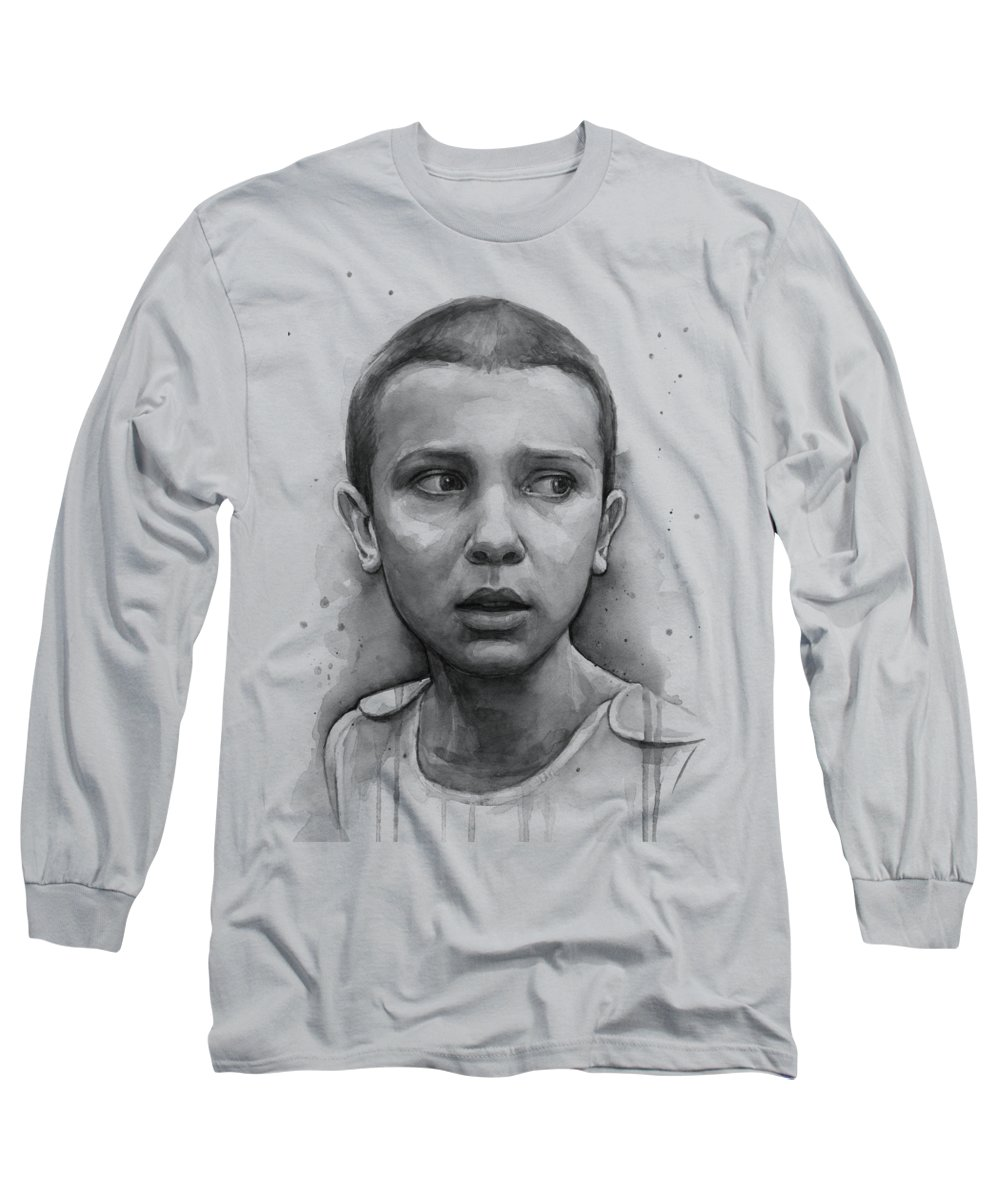 Stranger Things Long Sleeve T-Shirt featuring the painting Stranger Things Eleven Upside Down Art Portrait by Olga Shvartsur