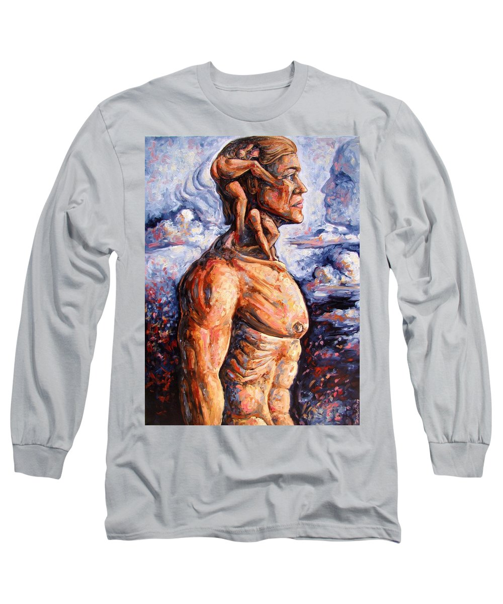 Surrealism Long Sleeve T-Shirt featuring the painting Stuck On You In My Unconscious Paradise by Darwin Leon